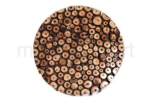 myWoodKart Round Wooden Stool Natural Wood Logs Best Used as Bedside Tea Coffee Plants Table for Bedroom Living Room Outdoor Garden Furniture Pre-Assembled - 12 inch 2