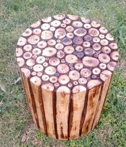 myWoodKart Round Wooden Stool Natural Wood Logs Best Used as Bedside Tea Coffee Plants Table for Bedroom Living Room Outdoor Garden Furniture Pre-Assembled - 12 inch 6