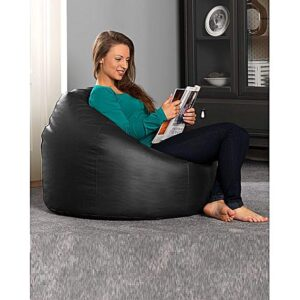Aart Store Leatherite XXL Bean Bag Cover Without Beans (Black) Color2