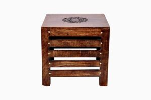 Amaze Shoppee Wooden Beautiful Handmade Stool (Brown) 2
