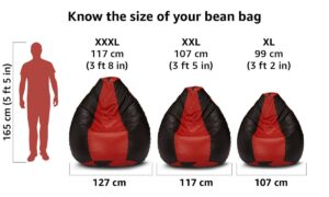 Amazon Brand - Solimo XXXL Bean Bag Cover Without Beans (Red and Black) 4