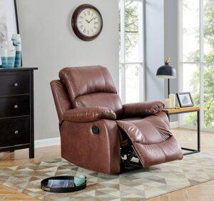 BANTIA FURNITURES PVT LTD Stratus Single Seater Faux Linen Manual Recliner for Living Room (Dark Brown) 23