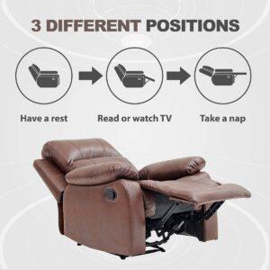 BANTIA FURNITURES PVT LTD Stratus Single Seater Faux Linen Manual Recliner for Living Room (Dark Brown) 2343