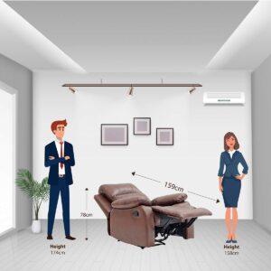 BANTIA FURNITURES PVT LTD Stratus Single Seater Faux Linen Manual Recliner for Living Room (Dark Brown) 23432