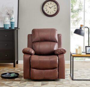 BANTIA FURNITURES PVT LTD Stratus Single Seater Faux Linen Manual Recliner for Living Room (Dark Brown)