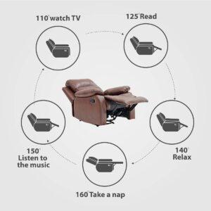 BANTIA FURNITURES PVT LTD Stratus Single Seater Faux Linen Manual Recliner for Living Room (Dark Brown) 456