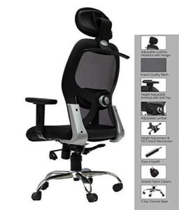 Lifecare Head Rest mesh HIGH Back Office Chair Adjustable Arms and Height Adjustment with Comfortable Back Support