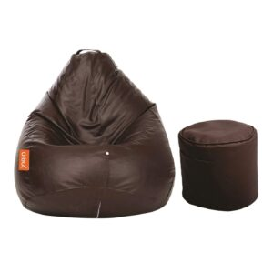 ORKA Classic XXL with Footstool Bean Bag Cover Without Beans - Brow
