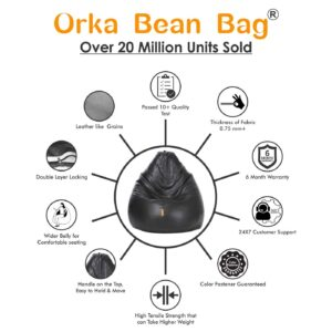 ORKA Classic XXL with Footstool Bean Bag Cover Without Beans - Brown44