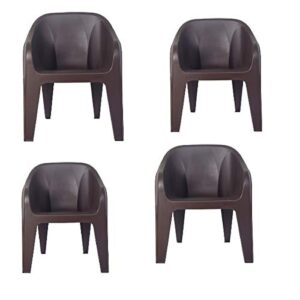 RW REST WELL Maxima Plastic Chair for Home, Garden, Office & Restaurants (Brown, Set of 4)