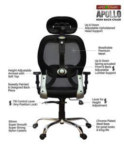 SAVYA HOME APEX Chairs Apollo Chrome Base High Back Office Chair Adjustable Arms (Black) 21