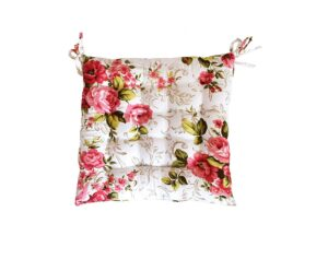 Shopbite Cotton Decorative Damask Fabric Pink Flower Printed Chair Pads3