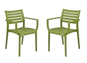 Supreme Empire Premium Plastic Chair (M. Green), Set of 2