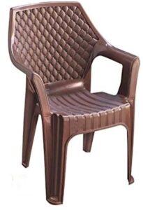 Anmol Plastic Chairs Anmol Plastic Comfortable Plastic Arm Chair Set (Brown_Set of 1)