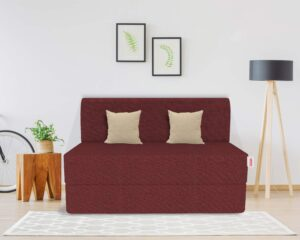 Coirfit Two Seater Folding Sofa Cum Bed - Perfect for Guests - Jute Fabric Washable Cover with Free Cushions (2 Seater)