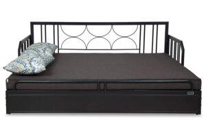 FurnitureKraft Centerville Three Seater Sofa-Cum-Bed with Mattress (Glossy Finish, Brown) 6