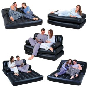 Jukkre Buy 5 in 1 Air Sofa Bed with Pump Lounge Couch Mattress Inflatable (3 Seater) 2