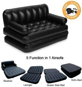Jukkre Buy 5 in 1 Air Sofa Bed with Pump Lounge Couch Mattress Inflatable (3 Seater) 6