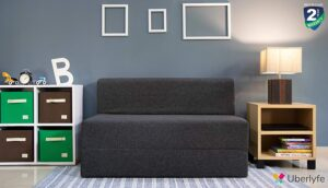uberlyfe 2 Seater Jute Fabric Washable Cover Sofa Cum Bed Perfect for Guests (Dark Grey, 4 X 6 ft)