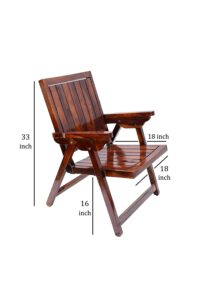 Jangid Handicraft Sheesham Wood Folding Arm Chair 67