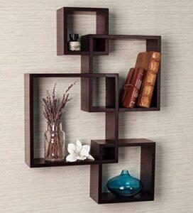 Timberhub Wooden Intersecting Wall Mounted Shelves