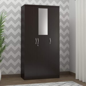 DeckUp Cove Engineered Wood Wardrobe with Mirror Dark
